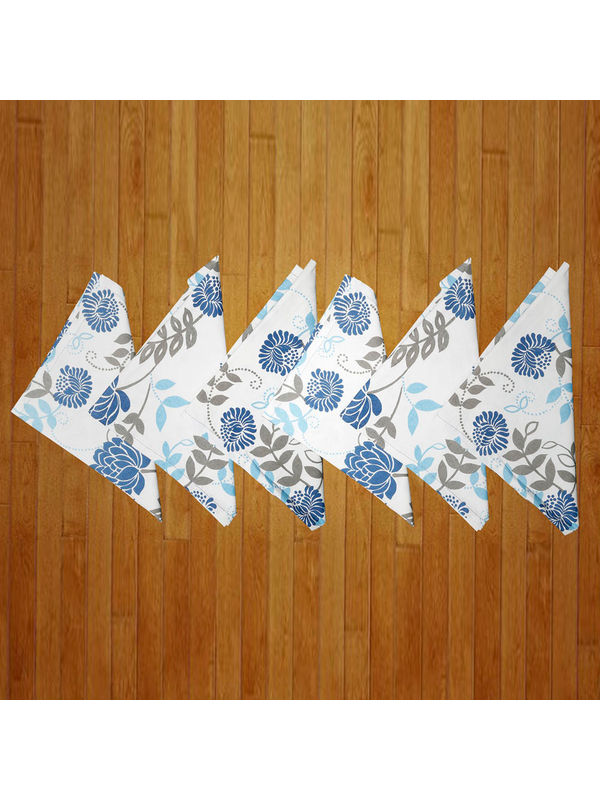 Floral Printed Blue Napkin Set (Pack of 6)By Dekor World