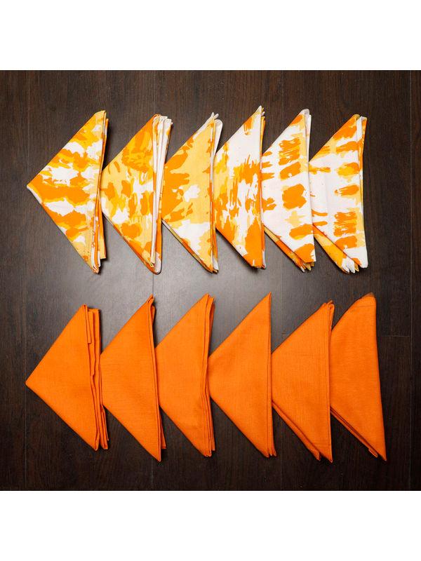 Abstract Plain Printed Orange Napkin Set (Pack of 12)By Dekor World