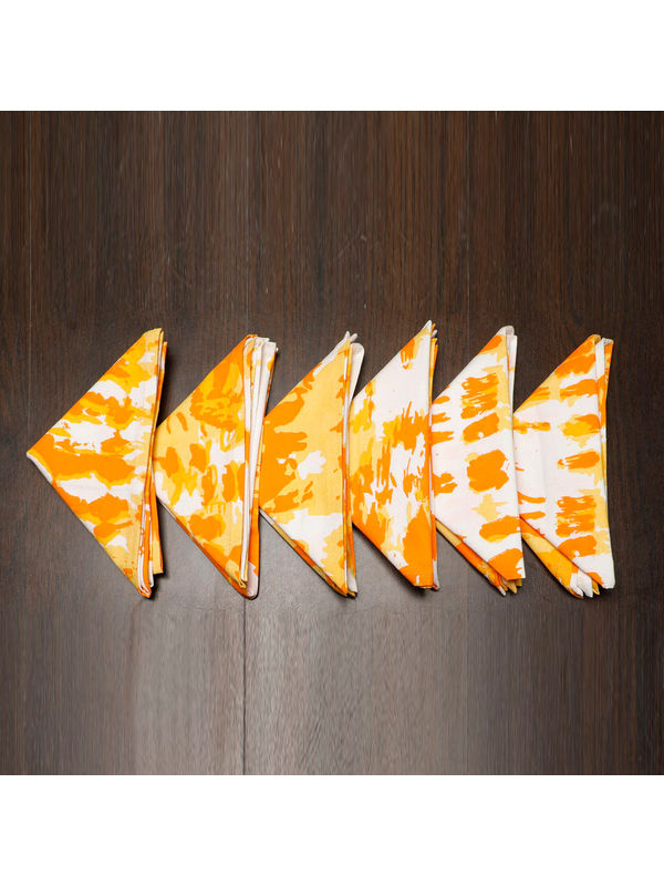 Abstract Printed Orange Napkin Set (Pack of 6)By Dekor World