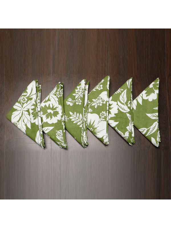 Floral Printed Green Napkin Set (Pack of 6)By Dekor World