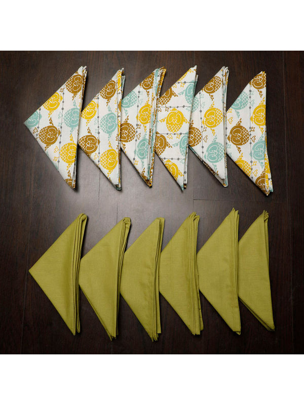 Owl Plain Printed Green Napkin Set (Pack of 12)By Dekor World
