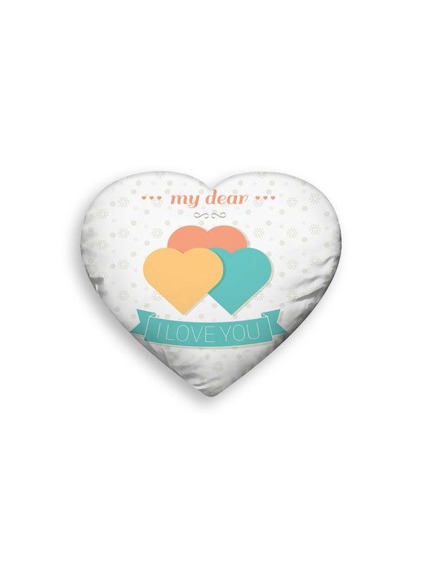 Polyester Velvet Printed Heart Shape Filled Pillow (Pack of 1)