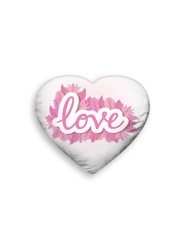 Polyester Velvet Printed Heart Shape Filled Pillow (Pack of 1)