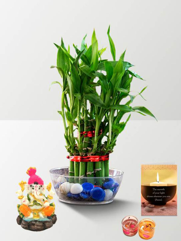 2 Layer Lucky Bamboo and Pagdi Ganesha with Candle Combo