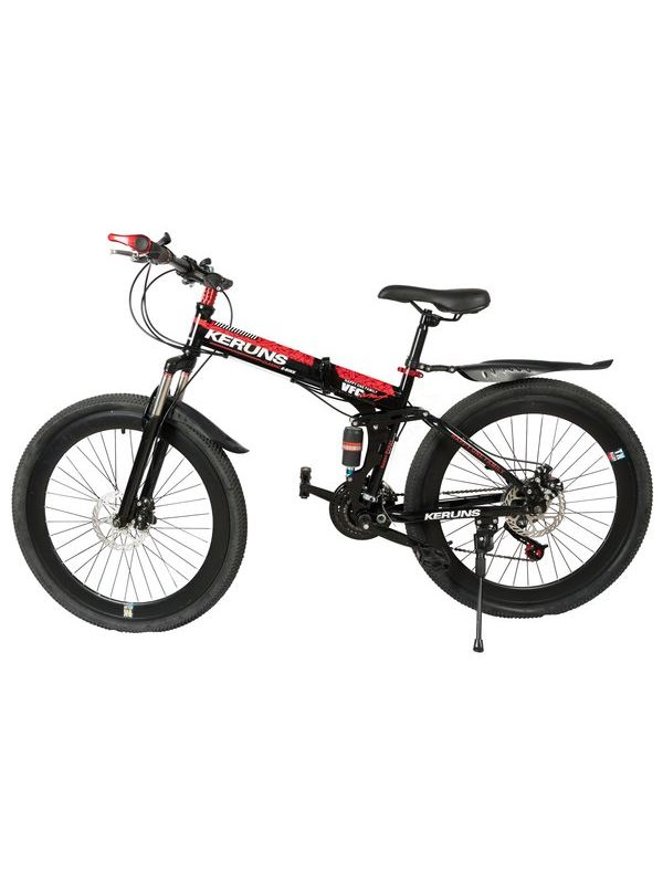 KERUNS Mountain Bicycle with Folding High Carbon Steel frame and 26 ...