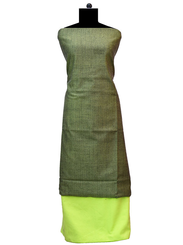 100% High Altitude Pure Wool Green And Solid Green Woolen Suit Without Dupatta