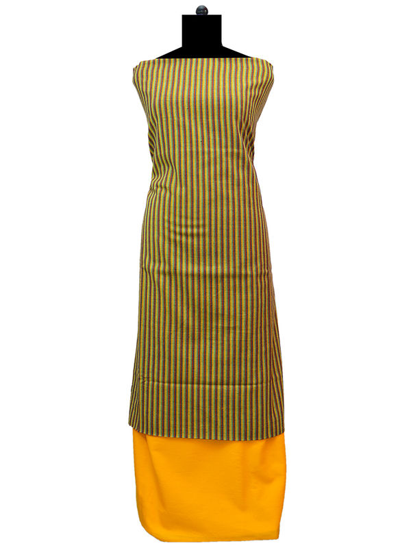 100% High Altitude Pure Wool Mustard Strped Woolen Suit Without Dupatta