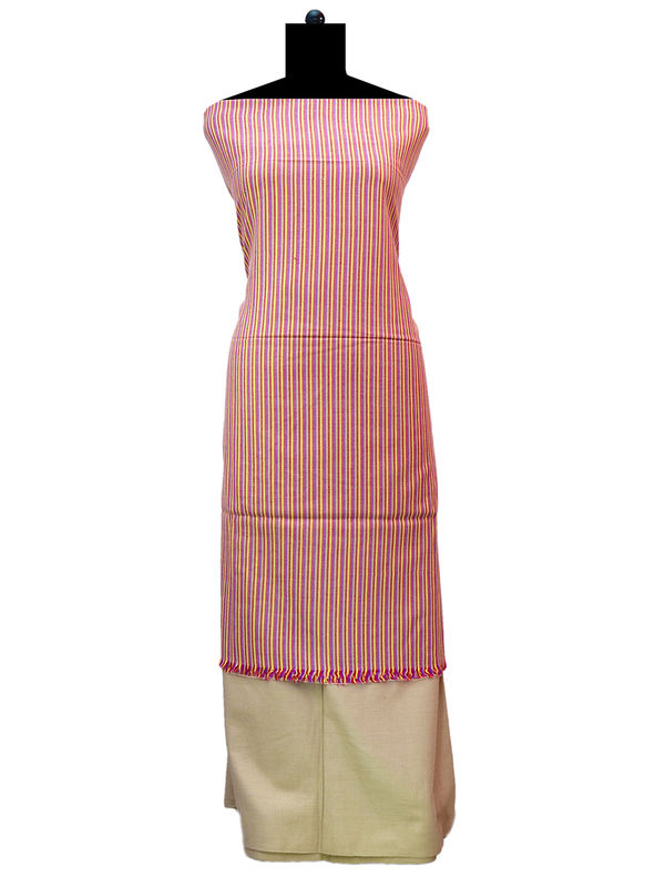 100% High Altitude Pure Wool Peach And Brown Striped Woolen Suit Without Dupatta