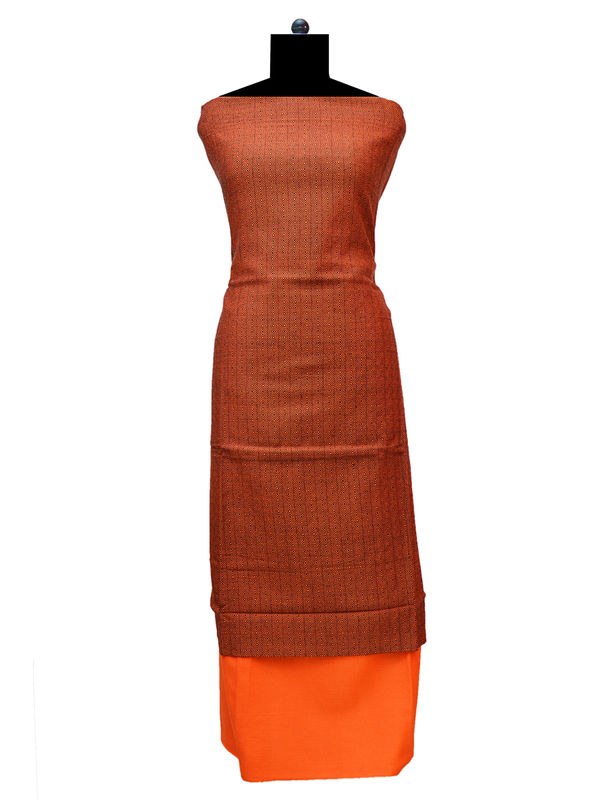 100% High Altitude Pure Wool Rust And Solid Orange Woolen Suit Without Dupatta