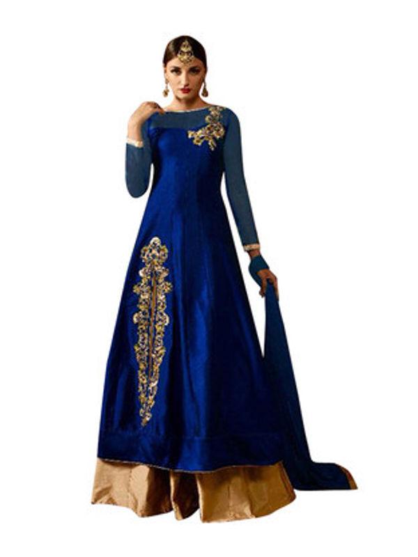 Blue Color Taffeta Silk Fully Ghare Anarkali Suit