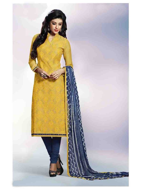 Graceful Yellow Embroidered Chanderi Salwar Suit  Salwar Suit