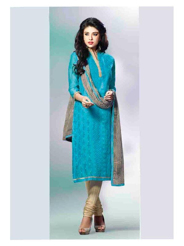 Graceful Sky Blue Embroidered Chanderi Salwar Suit