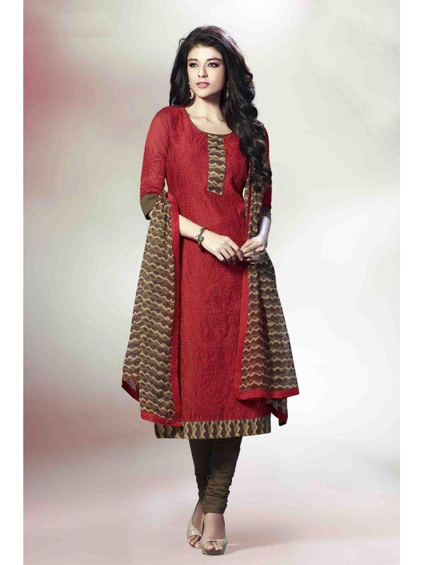 Graceful Red Embroidered Chanderi Silk Salwar Suit