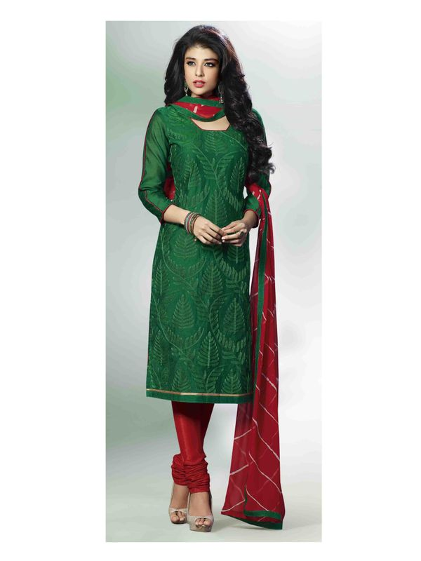 Graceful Dark Green Embroidered Chanderi Silk Salwar Suit