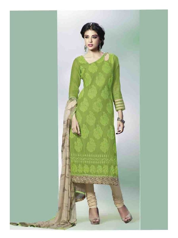 Graceful Green Embroidered Chanderi Silk Salwar Suit