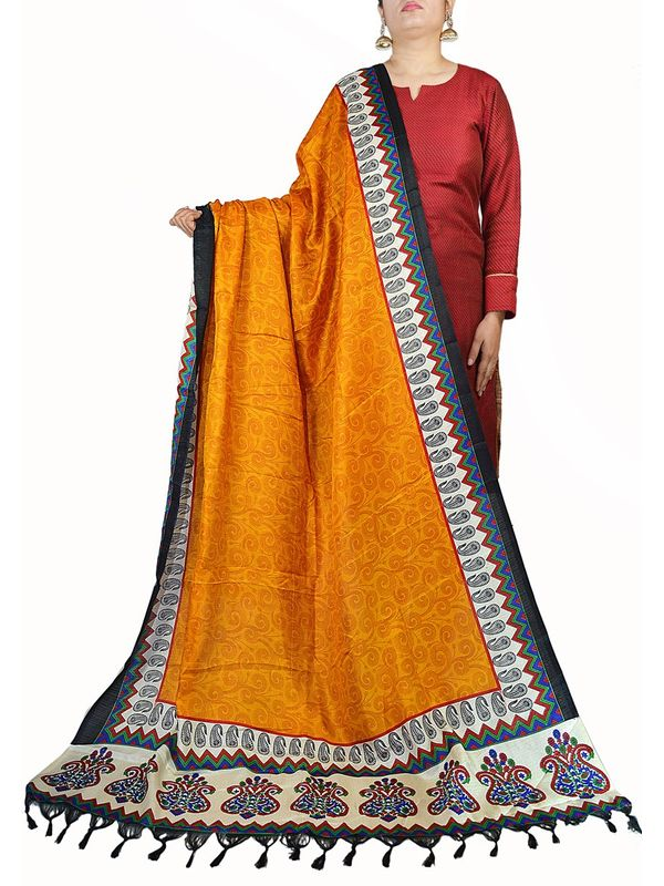 Art Silk Orange Bhagalpuri Dupatta