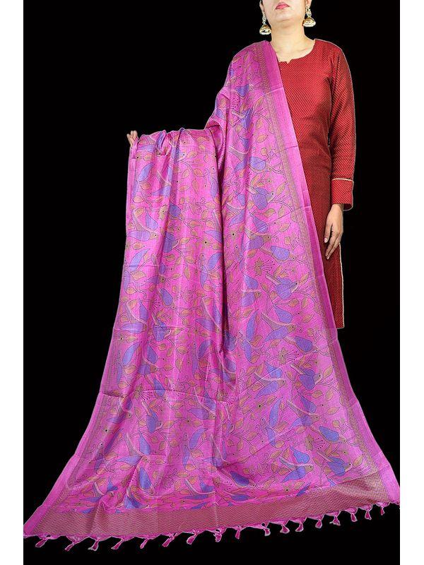 Art Silk Pink Bhagalpuri Dupatta