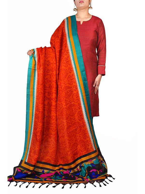 Art Silk Rust Bhagalpuri Dupatta