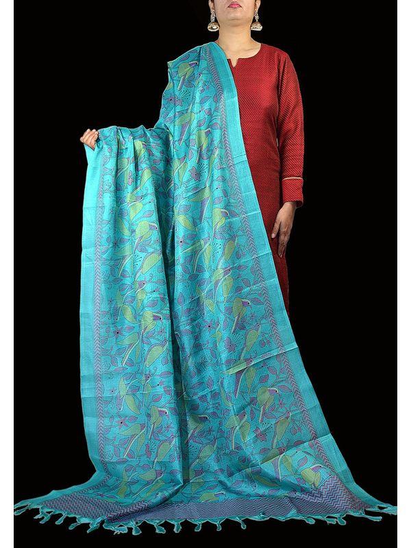Art Silk Sky Blue Bhagalpuri Dupatta