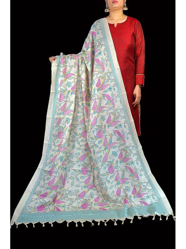 Art Silk White Bhagalpuri Dupatta