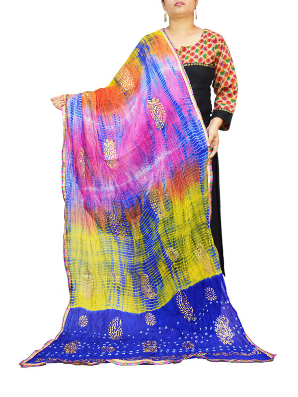 Bandhani Blue Multi Color Silk Dupatta