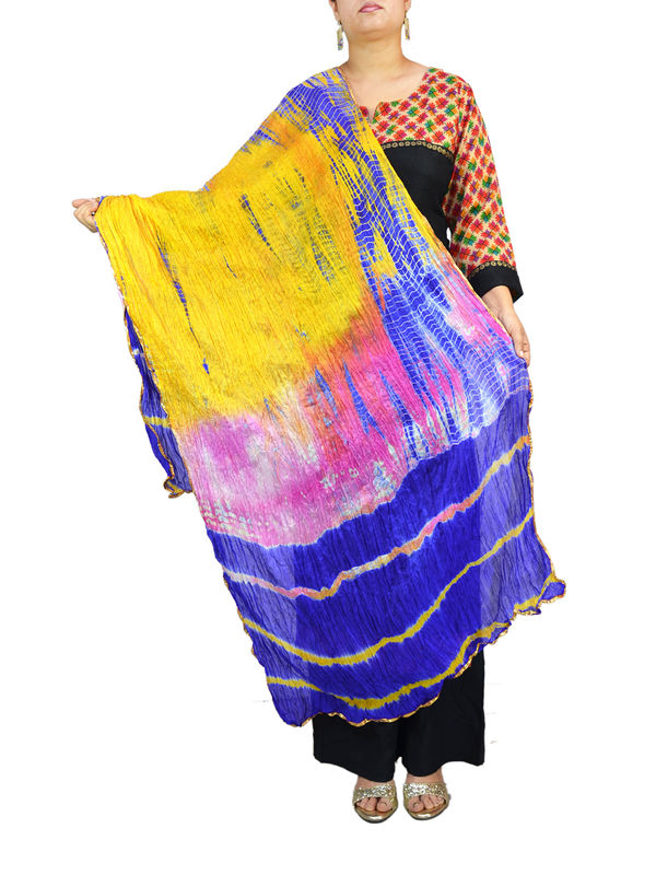Bandhani Blue Yellow Multi Color Silk Dupatta