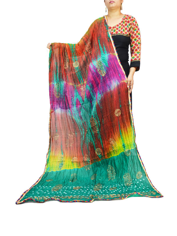 Bandhani Green Multi Color Silk Dupatta
