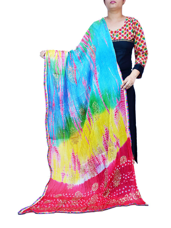 Bandhani Magenta Multi Color Silk Dupatta