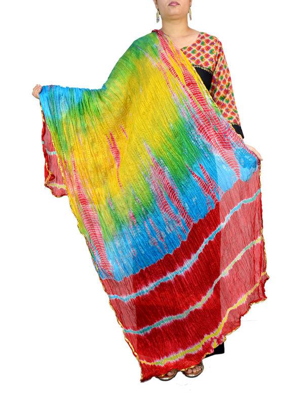 Bandhani Maroon Blue Multi Color Silk Dupatta