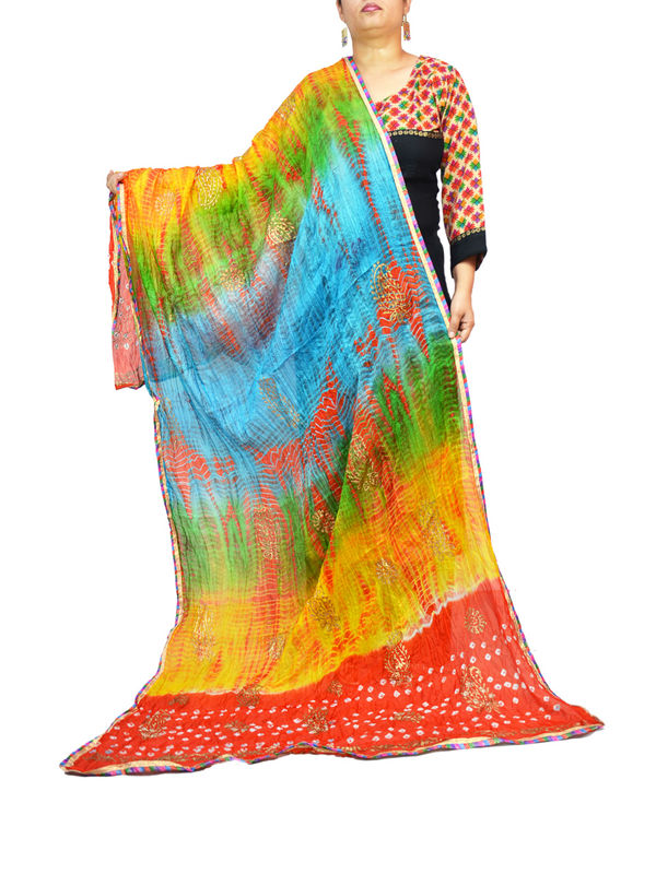 Bandhani Red Multi Color Silk Dupatta