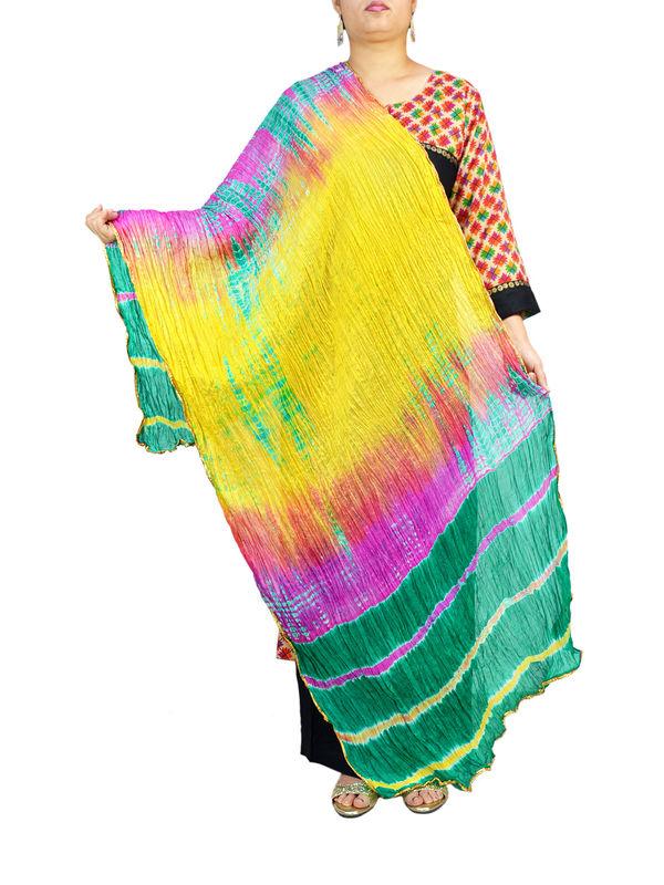 Bandhani Yellow Green Multi Color Silk Dupatta