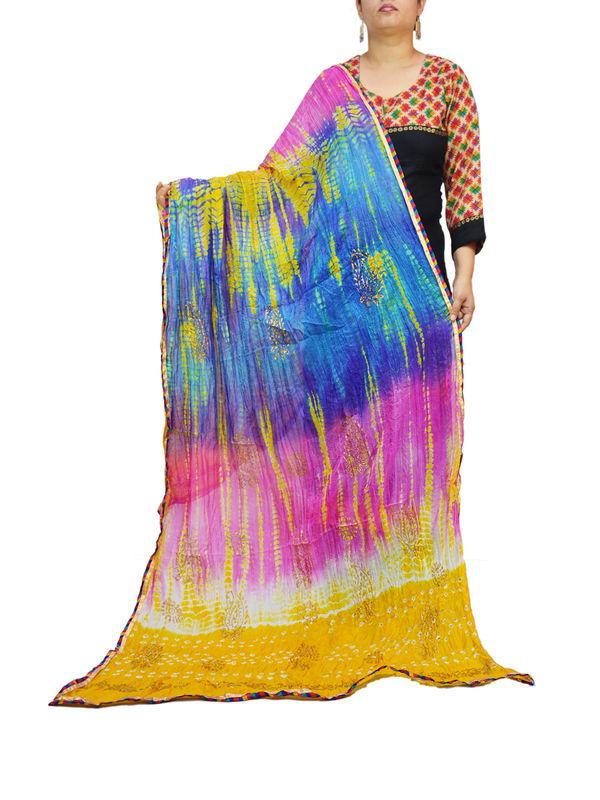Bandhani Yellow Multi Color Silk Dupatta