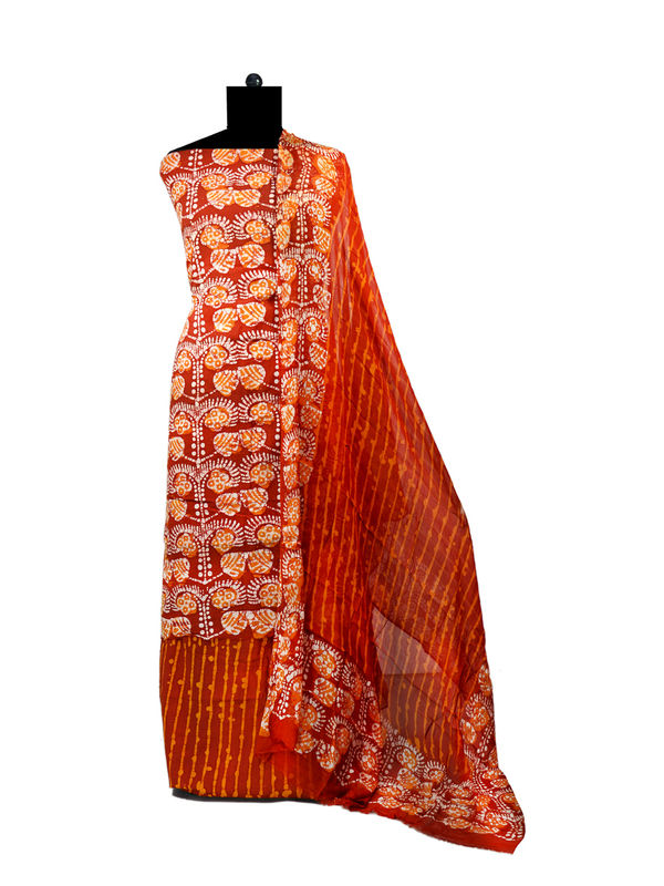 Batik Maroon Printed Cotton Suit With Pure Chiffon Dupatta