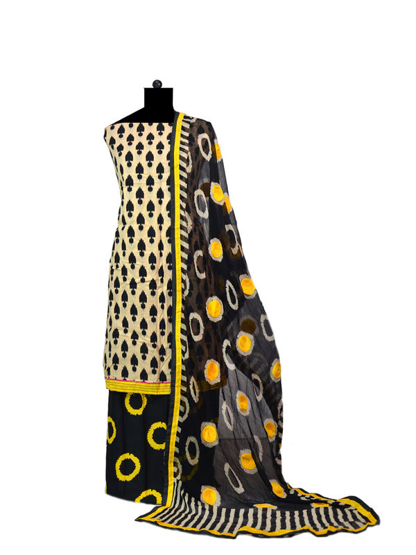Beige Black Yellow Cotton Suit With Embroidered Dupatta