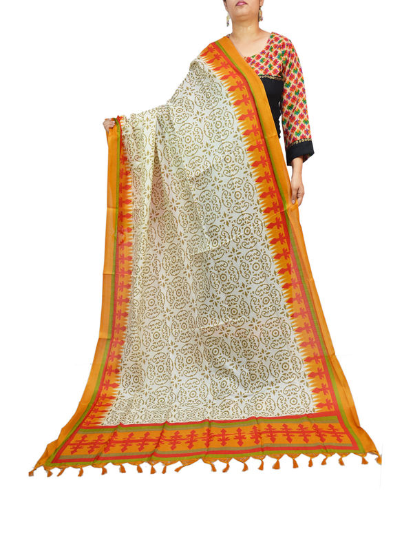 Art Silk Bhagalpuri Beige Orange Dupatta