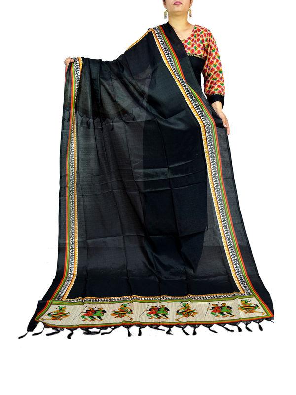Bhagalpuri Art Silk Black Artistic Dupatta