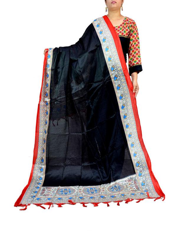 Bhagalpuri Art Silk Black Designer Dupatta