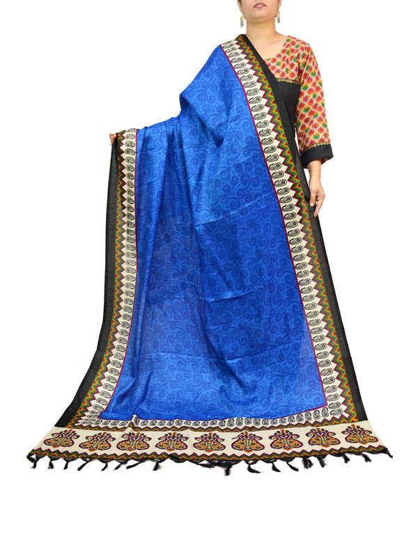 Art Silk Blue Bhagalpuri Dupatta