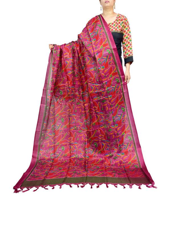 Bhagalpuri Art Silk Maroon Designer Dupatta