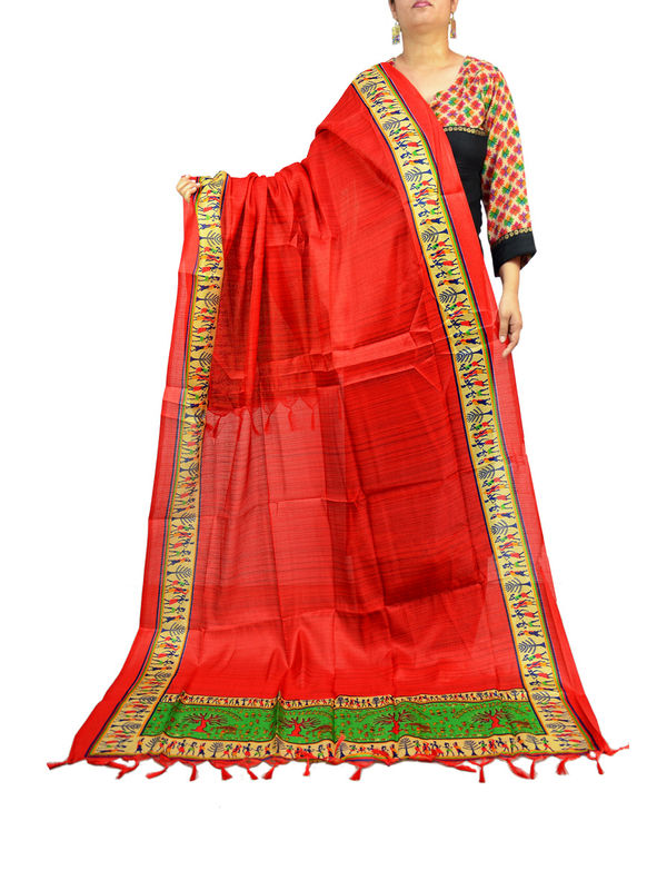 Bhagalpuri Art Silk Red Designer Dupatta
