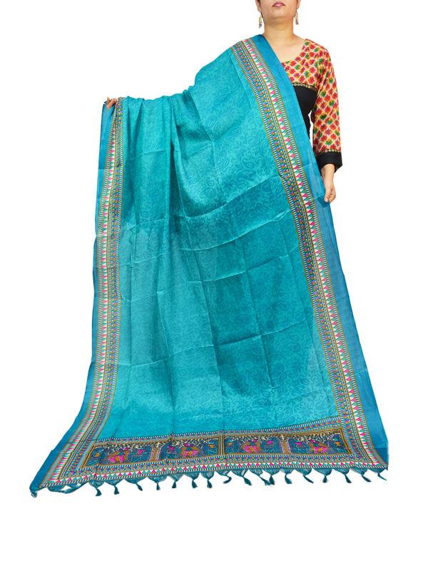 Bhagalpuri Art Silk Turquoise Dupatta