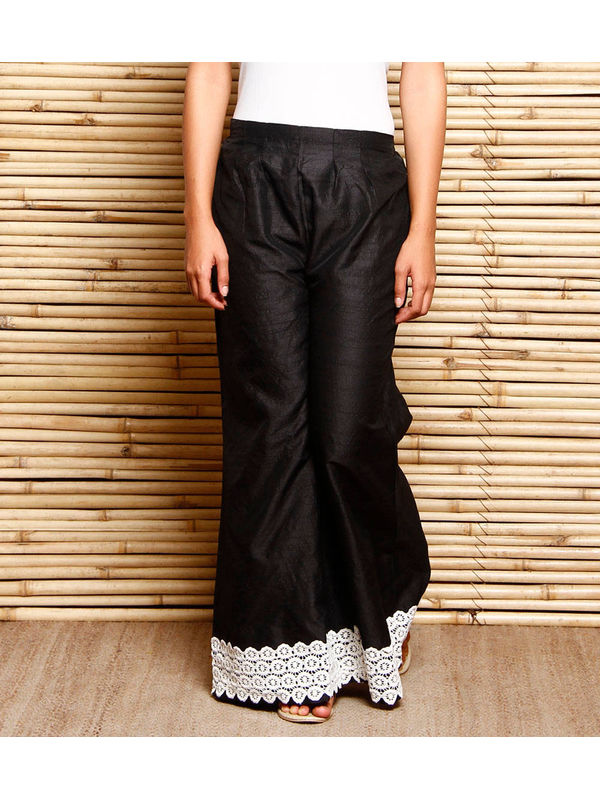 Black Art Silk Palazzo With Cotton Lace Hem