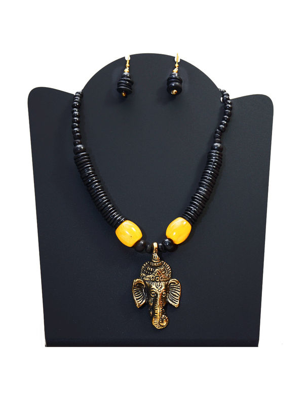 Black Bead Tribal Goddess Necklace