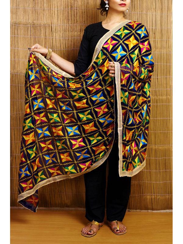 Black Multi Embroidered Phulkari Dupatta