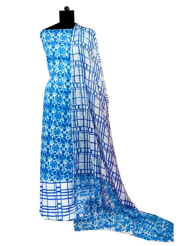 Blue Batik Karachi Cotton Suit With Pure Dupatta