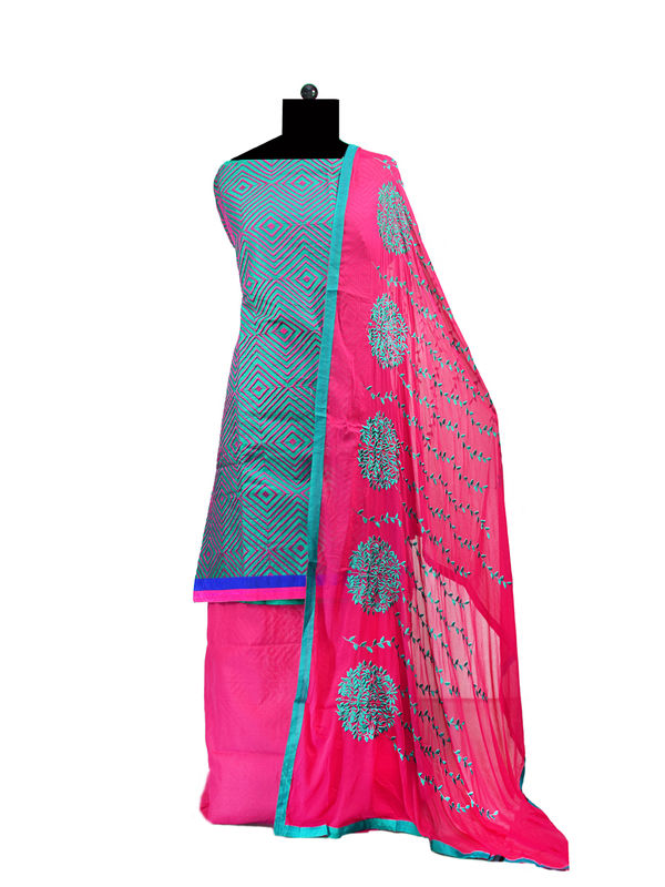 Blue Magenta Cotton Embroidered Suit With Embroidered Dupatta