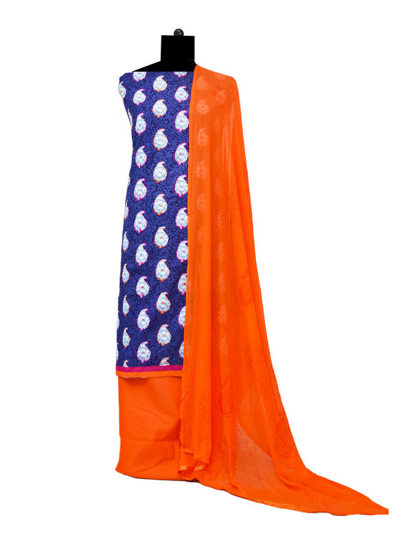 Blue Orange Embroidered Cotton Suit With Dupatta