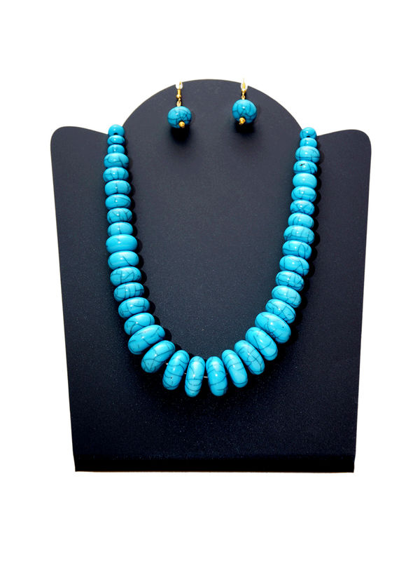 Blue Beaded Tribal Necklace With Pearled Earrings