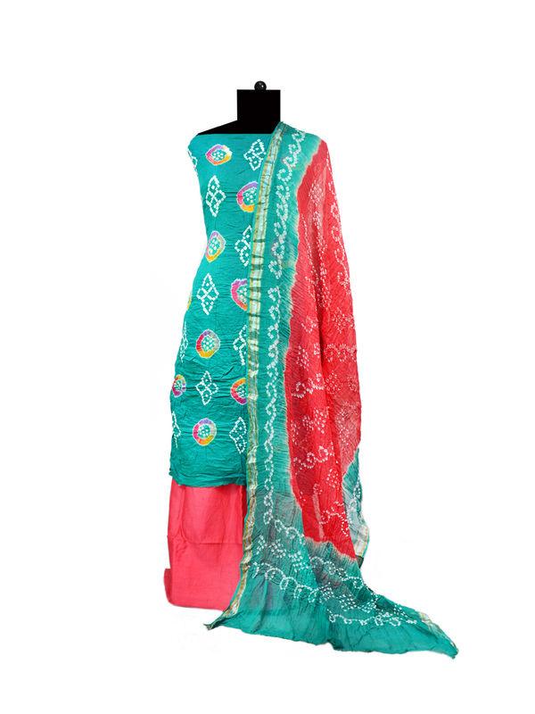 Blue Pink Bandhej Printed Cotton Suit With Bandhej Dupatta