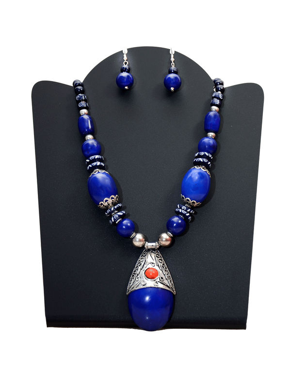 Blue Stone Handcrafted Tribal Necklace With Earrings